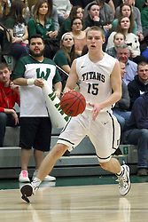 21 February 2015:  Brady Rose during an NCAA men's division 3 CCIW basketball game between the Elmhurst Bluejays and the Illinois Wesleyan Titans in Shirk Center, Bloomington IL