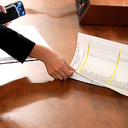 House Judiciary Committee Chief Clerk for the Majority Madeline Strasser collects the vote tally for H.R. 755, Articles of Impeachment Against President Donald J. Trump, after the vote in the House Judiciary Committee on Friday, December 13, 2019.