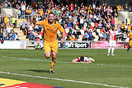 Jon Parkin of Newport county © celebrates after he scores his teams 2ND goal to equalise at 2-2. EFL Skybet football league two match, Newport county v Cheltenham Town at Rodney Parade in Newport, South Wales on Saturday 10th September 2016.<br /> pic by Andrew Orchard, Andrew Orchard sports photography.