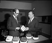 21/04/1970<br /> 04/21/1970<br /> 21 April 1970<br /> A new safety helmet for use by hurling players was shown publicly for the first time at Croke Park on the 21st of April 1970. The helmet was the first of its kind to be designed and manufactured completely in Ireland. The helmet was manufactured by William Cox (Ireland) LTD. The director and general manager, Mr. Jim Shannon presented some sample helmets to Seán Ó Síocháin, General Secretary of the G.A.A. The helmets were available in county or club colours.<br /> <br /> In the picture: Seán Ó Síocháin (right) and Jim Shannon inspect one of the new helmets.