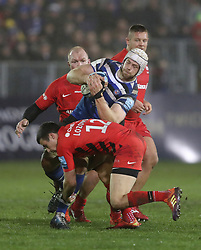 Bath's Dave Attwood is tackled by Saracens Alex Lozowski during the Gallagher Premiership match at the Recreation Ground, Bath.