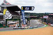 June 10-16, 2019: 24 hours of Le Mans. Start of the 24h of Le Mans 2019, led by 7 TOYOTA GAZOO RACING, TOYOTA TS050 - HYBRID,  Mike CONWAY, Kamui KOBAYASHI, Jose Maria LOPEZ, , 8 TOYOTA GAZOO RACING, TOYOTA TS050 - HYBRID, Sébastien BUEMI, Kazuki NAKAJIMA, Fernando ALONSO, 1 REBELLION RACING, REBELLION R13 - GIBSO, Neel JANI, André LOTTERER, Bruno SENNA