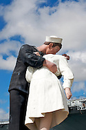Sculpture of Sailor and sweetheart kissing, near USS Midway, San Diego Harbor