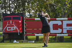 August 23, 2018 - Regina, SK, U.S. - REGINA, SK - AUGUST 23: Amelia Lewis (USA) watches her tee shot on 18 during the CP Women's Open Round 1 at Wascana Country Club on August 23, 2018 in Regina, SK, Canada. (Photo by Ken Murray/Icon Sportswire) (Credit Image: © Ken Murray/Icon SMI via ZUMA Press)