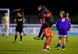 BANGOR, WALES - Tuesday, November 20, 2018: Wales' Daniel Griffiths celebrates with Christian Norton after a 2-0 victory over San Marino and qualification into the Elite Round after the UEFA Under-19 Championship 2019 Qualifying Group 4 match between Wales and San Marino at the Nantporth Stadium. (Pic by Paul Greenwood/Propaganda)