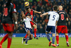 Saido Berahino of West Brom and Jack Cork of Swansea City compete for the ball - Photo mandatory by-line: Rogan Thomson/JMP - 07966 386802 - 11/02/2015 - SPORT - FOOTBALL - West Bromwich, England - The Hawthorns - West Bromwich Albion v Swansea City - Barclays Premier League.