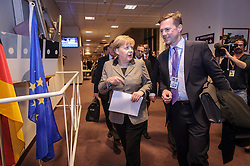 Angela Merkel, Germany's chancellor, arrives for her press briefing,  just after 02:00 Friday morning, as the first day of EU Summit meetings stretches into the next day, at the European Council headquarters in Brussels, Belgium on Friday, Dec. 14, 2012. (Photo © Jock Fistick)
