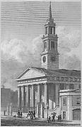New Church, Waterloo Road, engraving 'Metropolitan Improvements, or London in the Nineteenth Century' London, England, UK 1828 , drawn by Thomas H Shepherd