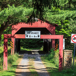 Trout Run, PA, USA- July 14, 2011: Approach to Cogan House Covered Bridge in Lycoming County, PA