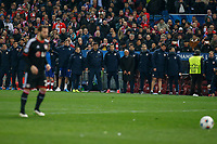 Atletico de Madrid´s team gather during penalty shootouts at the UEFA Champions League round of 16 second leg match between Atletico de Madrid and Bayer 04 Leverkusen at Vicente Calderon stadium in Madrid, Spain. March 17, 2015. (ALTERPHOTOS/Victor Blanco)