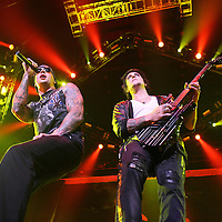 MINNEAPOLIS, MN - AUGUST 17: Lead singer M. Shadows and Zacky Vengence of Avenged Sevenfold, performs at the start of the tour for the 2010 Rockstar Energy Drink Uproar Festival at Target Center on August 17, 2010 in Minneapolis, Minnesota.  (Photo by Adam Bettcher/Getty Images) *** Local Caption *** M. Shadows
