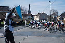 Warning signs for sharp turns and rough road surfaces - 2016 Omloop van het Hageland - Tielt-Winge, a 129km road race starting and finishing in Tielt-Winge, on February 28, 2016 in Vlaams-Brabant, Belgium.