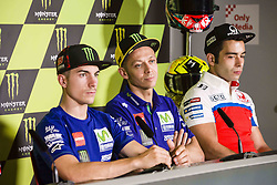 June 8, 2017 - Barcelona, Spain - MotoGP, Maverick Vinales(Spa), Movistar Yamaha Motogp Team, Valentino Rossi(Ita), Movistar Yamaha Motogp Team and MotoGP, Danilo Petrucci(Ita), Octo Pramac Racing Team during the press conference of MotoGp Grand Prix Monster Energy of Catalunya, in Barcelona-Catalunya Circuit, Barcelona on 8th June 2017 in Barcelona, Spain. (Credit Image: © Urbanandsport/NurPhoto via ZUMA Press)