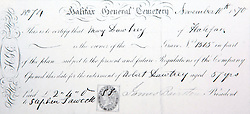 © Licensed to London News Pictures. 21/10/2015. Halifax, UK.  Collect picture shows an original grave bill dated 1870 for a burial at the Victorian Grade 2 listed Lister Lane Cemetery in Halifax that dates back to 1841 & has been recognised as a Significant Cemetery in Europe, one of only 13 in the UK putting it alongside such famous cemeteries as Highgate in London. The cemetery houses burial plots of James Uriah Walker who was the owner of the Halifax Guardian & the first person to publish the Bronte sister's work, The Crossley family who's mill became the largest carpet manufacturing business in the world & numerous veterans of the battle of Waterloo. Photo credit: Andrew McCaren/LNP