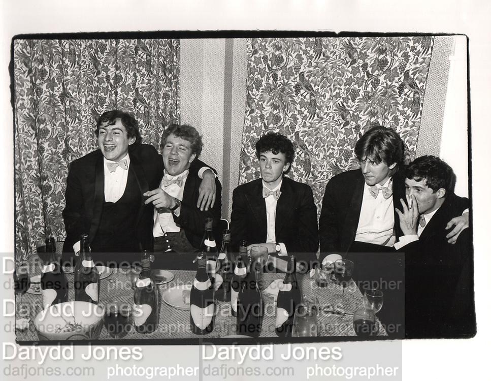 Nick Kermack, Richard Bott, John Stonehouse, Jonathan Burnham and Robin Howard. Piers Gaveston dinner. Norreys Ave, Oxford. 1980