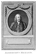 Albrecht von Haller (1708-1777), Swiss physician and scientist who was the founder of neurology, c1770.  Experimental physiology. Engraving c1790.