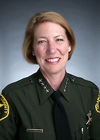 11 March 2009: Orange County California Sheriff Sandra Hutchens speaks at the Financial Executives International meeting at the Pacific Club in Newport Beach, CA.
