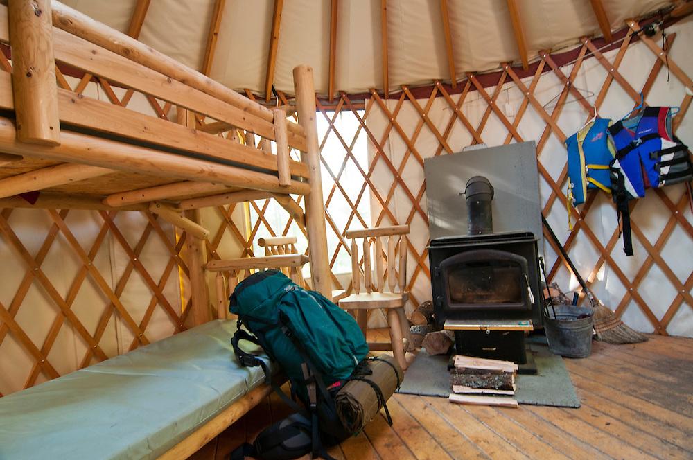 Teddy Lake yurt interior at Craig Lake State Park in Michigan's Upper Peninsula.