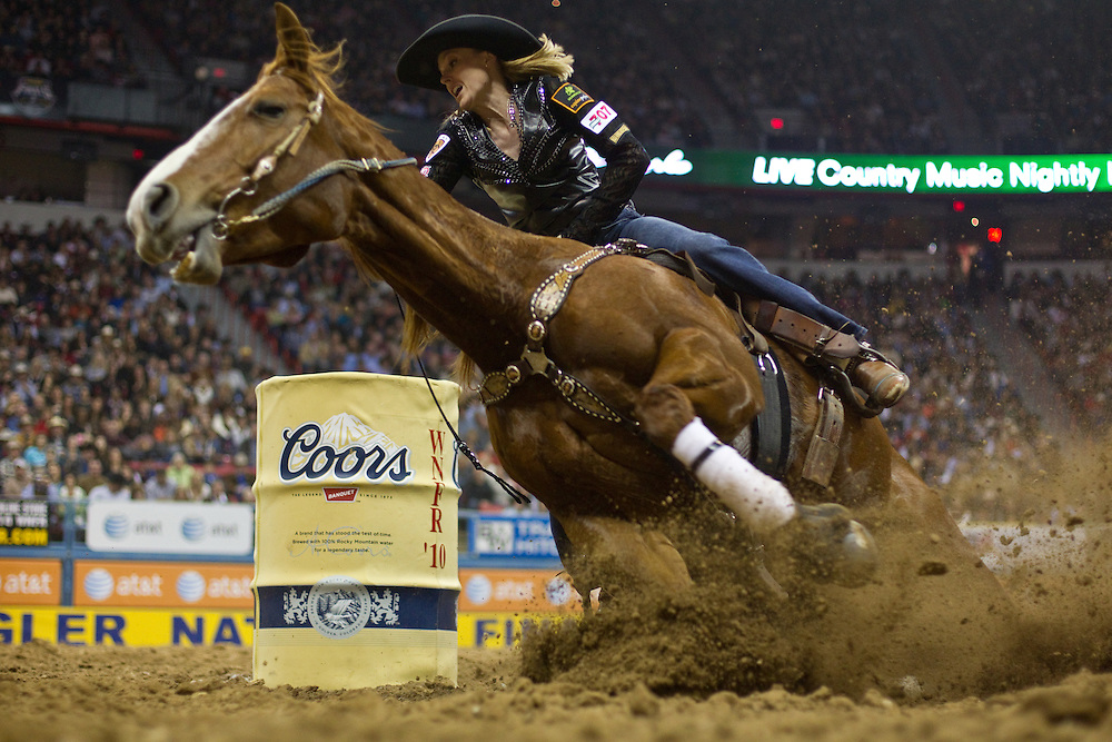 Lindsay Sears, barrel racing. 2010 Wrangler National Finals Rodeo, Round 9. Photographed at The Thomas and Mack Center in Las Vegas, Nevada on December 10, 2010. Photograph © 2010 Darren Carroll