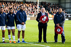 Bristol Bears Head Coach Pat Lam and Chairman Chris Booy during the act of Remembrance before kick off - Rogan/JMP - 10/11/2019 - RUGBY UNION - Sandy Park - Exeter, England - Exeter Chiefs v Bristol Bears - Gallagher Premiership.