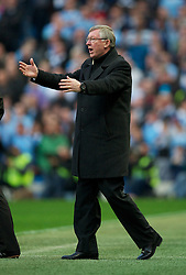MANCHESTER, ENGLAND - Monday, April 30, 2012: Manchester United's manager Alex Ferguson during the Premiership match against Manchester City at the City of Manchester Stadium. (Pic by David Rawcliffe/Propaganda)