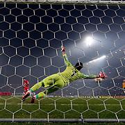 Liverpool's scores during the UEFA Europa League Round of 32 second leg soccer match Besiktas between Liverpool at Ataturk Olimpiyat stadium in Istanbul Turkey on Thursday February 26, 2015. Photo by Aykut AKICI/TURKPIX