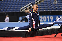March 2, 2019 - Greensboro, North Carolina, US - LEANNE WONG does the splits on a chair at the Greensboro Coliseum in Greensboro, North Carolina. (Credit Image: © Amy Sanderson/ZUMA Wire)