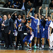Anadolu Efes's Players celebrate victory during their Turkish basketball league match Besiktas integral Forex between Anadolu Efes at BJK Akatlar Arena in Istanbul, Turkey, Monday, January 05, 2015. Photo by TURKPIX