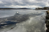 Not the typical February scene on Meredith Bay as it sits without any bob houses for the upcoming Rotary Ice Fishing Derby this weekend.   (Karen Bobotas/for the Laconia Daily Sun)