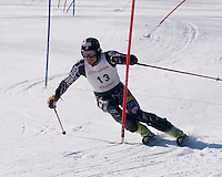 "US Ski Team's Jimmy Cochran competes on his home turf in the ""Thank God for Snowmaking"" slalom race held at Cochran's Ski Area Monday, March 16th.  (Karen Bobotas/Photographer)"