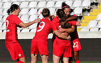 Fifa Womans World Cup Canada 2015 - Preview //<br /> Cyprus Cup 2015 Tournament ( Gsp Stadium Nicosia - Cyprus ) - <br /> Italy vs Canada 0-1   //  Allysha Chapman of Canada (15-Middle) , <br /> celebrates with team mates after his Goal (0-1)