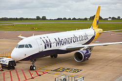 © Licensed to London News Pictures. 02/10/2017. LUTON, UK.  Two Airbus A320 aircraft belonging to Monarch Airlines are seen parked at remote stands at Luton Airport. The company has collapsed into administration today immediately grounding flights and ruining the holiday plans of thousands of people.  Photo credit: Cliff Hide/LNP