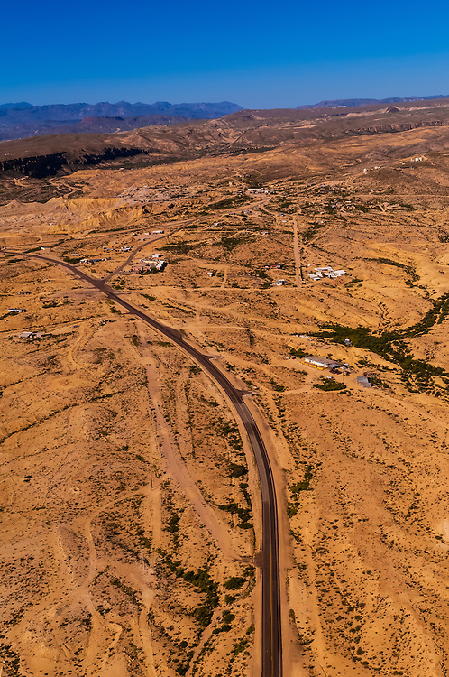 Aerial view over the Chihuahuan Desert, Terlingua Ghosttown near Big Bend National Park, Texas USA.