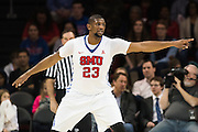 DALLAS, TX - DECEMBER 17: Jordan Tolbert #23 of the SMU Mustangs defends against the Hampton Pirates on December 17, 2015 at Moody Coliseum in Dallas, Texas.  (Photo by Cooper Neill/Getty Images) *** Local Caption *** Jordan Tolbert