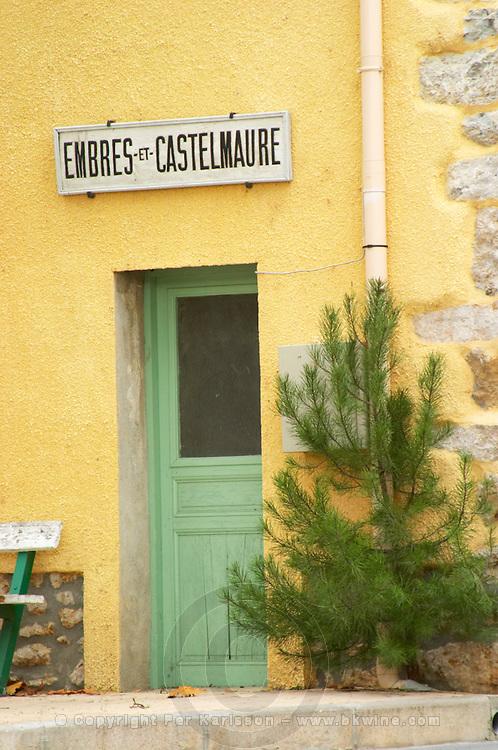 Embres et Castelmaure Cave Cooperative co-operative. Les Corbieres. Languedoc. A door. France. Europe.