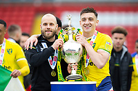 Football - 2020 / 2021 Sky Bet Championship - Barnsley vs Norwich City - Oakwell<br /> <br /> Teemu Pukki of Norwich City and Jordan Hugill of Norwich City with the trophy<br /> <br /> Credit :COLORSPORT/BRUCE WHITE