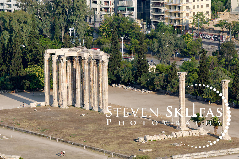 Athens. Greece. Panoramic view of the massive remains Temple of Olympian Zeus (Olympieion), the largest temple in Greece which took nearly 700 years to complete.