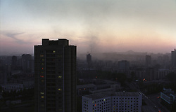 Pyongyang, North Korea, April/May 2004. Skyline, Pyongyang at sunset. (Photo by Teun Voeten) *** Please Use Credit from Credit Field ***