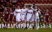Photo: Jed Wee.<br /> Middlesbrough v Stuttgart. UEFA Cup. 23/02/2006.<br /> <br /> Stuttgart celebrate with goalscorer Christian Tiffert (R).