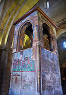 Pictures & images of the 17th century ciborium under which the robe of Jesus is said to have been buried. The Eastern Orthodox Georgian Svetitskhoveli Cathedral (Cathedral of the Living Pillar) , Mtskheta, Georgia (country). A UNESCO World Heritage Site.<br /> <br /> Currently the second largest church building in Georgia, Svetitskhoveli Cathedral is a masterpiece of Early Medieval architecture completed in 1029 by Georgian architect Arsukisdze on an earlier site dating back toi the 4th century. .<br /> <br /> Visit our MEDIEVAL PHOTO COLLECTIONS for more   photos  to download or buy as prints https://funkystock.photoshelter.com/gallery-collection/Medieval-Middle-Ages-Historic-Places-Arcaeological-Sites-Pictures-Images-of/C0000B5ZA54_WD0s<br /> <br /> Visit our REPUBLIC of GEORGIA HISTORIC PLACES PHOTO COLLECTIONS for more photos to browse, download or buy as wall art prints https://funkystock.photoshelter.com/gallery-collection/Pictures-Images-of-Georgia-Country-Historic-Landmark-Places-Museum-Antiquities/C0000c1oD9eVkh9c