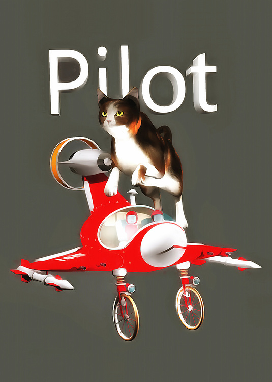 This charming fine art piece shows a cat leaping over an airplane. This is a pretty small airplane, so perhaps the cat simply can't fit. No matter what, we can easily imagine the delightful image of a cat piloting a plane. This cat seems to be looking ahead to something else, but they are nonetheless still aware of the airplane that is just beneath their feet. This piece combines a unique, almost vintage-style airplane with a shot of a beautiful housecat in motion. The end result is something that will delight absolutely everyone in your home. You can place this piece just about anywhere. .<br /> <br /> BUY THIS PRINT AT<br /> <br /> FINE ART AMERICA<br /> ENGLISH<br /> https://janke.pixels.com/featured/pilot-jan-keteleer.html<br /> <br /> WADM / OH MY PRINTS<br /> DUTCH / FRENCH / GERMAN<br /> https://www.werkaandemuur.nl/nl/shopwerk/Katten-piloot/436530/134