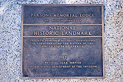 The National Historic Landmark plaque at Parsons Memorial Lodge, Tuolumne Meadows area, Yosemite National Park, California