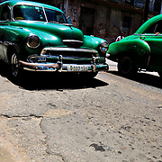 Old American cars being used as shared taxis