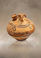 Minoan decorated stirrup jar, Malia Palace 1600-1450 BC; Heraklion Archaeological  Museum. .<br /> <br /> If you prefer to buy from our ALAMY PHOTO LIBRARY  Collection visit : https://www.alamy.com/portfolio/paul-williams-funkystock/minoan-art-artefacts.html . Type -   Heraklion   - into the LOWER SEARCH WITHIN GALLERY box. Refine search by adding background colour, place, museum etc<br /> <br /> Visit our MINOAN ART PHOTO COLLECTIONS for more photos to download  as wall art prints https://funkystock.photoshelter.com/gallery-collection/Ancient-Minoans-Art-Artefacts-Antiquities-Historic-Places-Pictures-Images-of/C0000ricT2SU_M9w