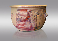 Mycenaean pictorial Krater decorated with a two horses and chariot, Tiryns Acropolis - 13-12th cent BC. National Archaeological Museum Athens. Cat No 1511. Grey Background<br /> <br /> This larfe Mycenaean pictorial Krater depicts a two horse Mycenaean chariot with two riders. Two men holding spears and circular shields walk in front of the chariot and a dog scampers under the horse. This style is typical of the 'painter of the shiled bearers' of the Tiryns workshop from the late 13th to 12th cent BC .<br /> <br /> If you prefer to buy from our ALAMY PHOTO LIBRARY  Collection visit : https://www.alamy.com/portfolio/paul-williams-funkystock/mycenaean-art-artefacts.html . Type -   Athens    - into the LOWER SEARCH WITHIN GALLERY box. Refine search by adding background colour, place, museum etc<br /> <br /> Visit our MYCENAEN ART PHOTO COLLECTIONS for more photos to download  as wall art prints https://funkystock.photoshelter.com/gallery-collection/Pictures-Images-of-Ancient-Mycenaean-Art-Artefacts-Archaeology-Sites/C0000xRC5WLQcbhQ