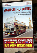Poster for sightseeing bus tours, London, England