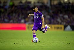 August 4, 2018 - Orlando, FL, U.S. - ORLANDO, FL - AUGUST 04: Orlando City defender Yoshimar Yotun (19) kicks the ball during the soccer match between the Orlando City Lions and the New England Revolution on August 4, 2018 at Orlando City Stadium in Orlando FL. (Photo by Joe Petro/Icon Sportswire) (Credit Image: © Joe Petro/Icon SMI via ZUMA Press)