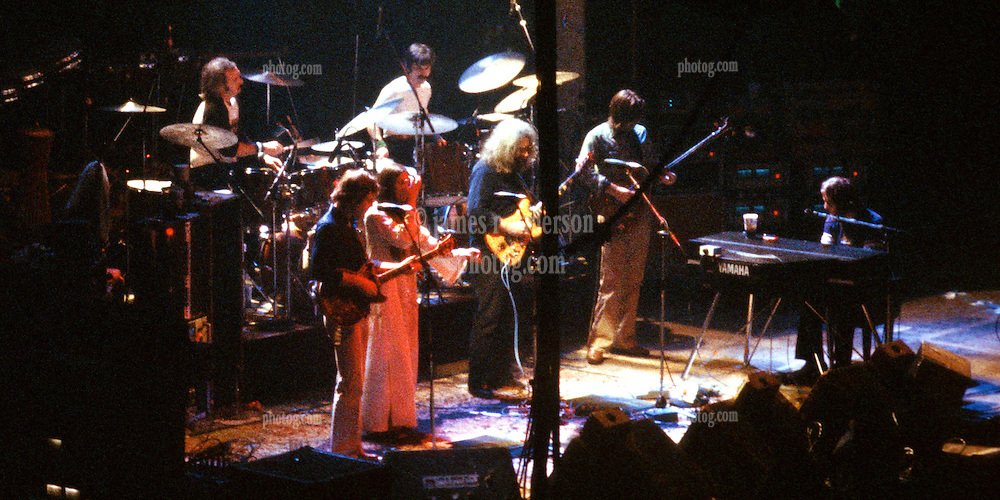 The Grateful Dead play The New Haven Coliseum 17 January 1979. Full band shot.