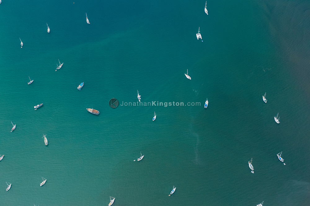Aerial view of boats anchored in the bay of Portobelo, Panama.