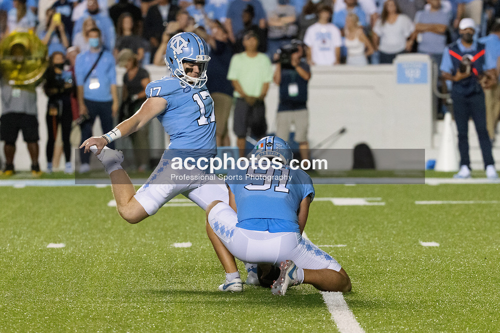CHAPEL HILL, NC - SEPTEMBER 11: Grayson Atkins #17 of the North Carolina Tar Heels plays during a game against the Georgia State Panthers on September 11, 2021 at Kenan Stadium in Chapel Hill, North Carolina. North Carolina won 59-17. (Photo by Peyton Williams/Getty Images) *** Local Caption *** Grayson Atkins